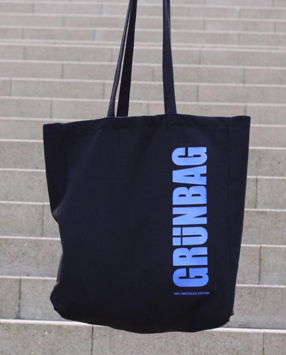 Schwarz GRÜNBAG Beutel - blauer logo